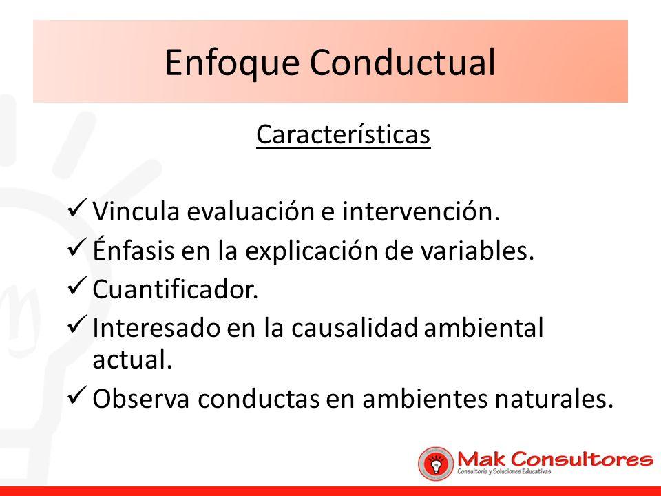 Enfoque Conductual Características Vincula evaluación e intervención. Énfasis en la explicación de variables. Cuantificador. Interesado en la causalid