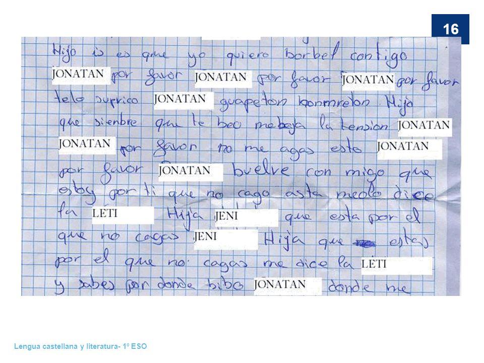 Lengua castellana y literatura- 1º ESO 16