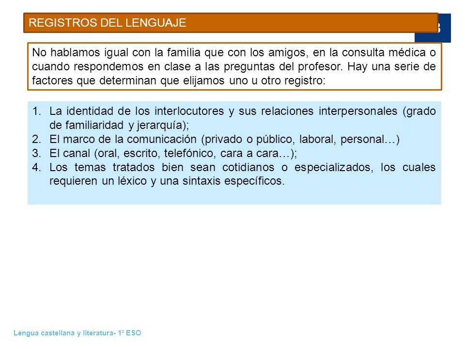 Lengua castellana y literatura- 1º ESO 18 REGISTROS DEL LENGUAJE No hablamos igual con la familia que con los amigos, en la consulta médica o cuando r