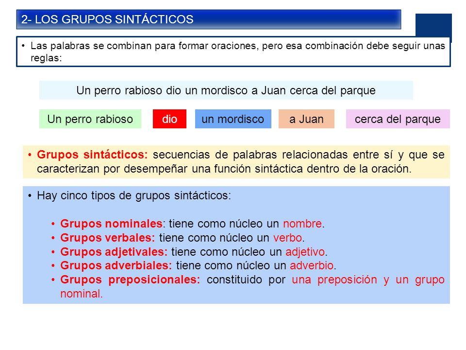 3- LA ESTRUCTURA DE LOS GRUPOS SINTÁCTICOS GRUPO NOMINAL (GN) FUNCIÓNDETERMINANTESNÚCLEOCOMPLEMENTO DEL NOMBRE Unidad lingüística -Artículos -Determinativos -Sustantivos -Pronombres -Palabras sustantivadas.