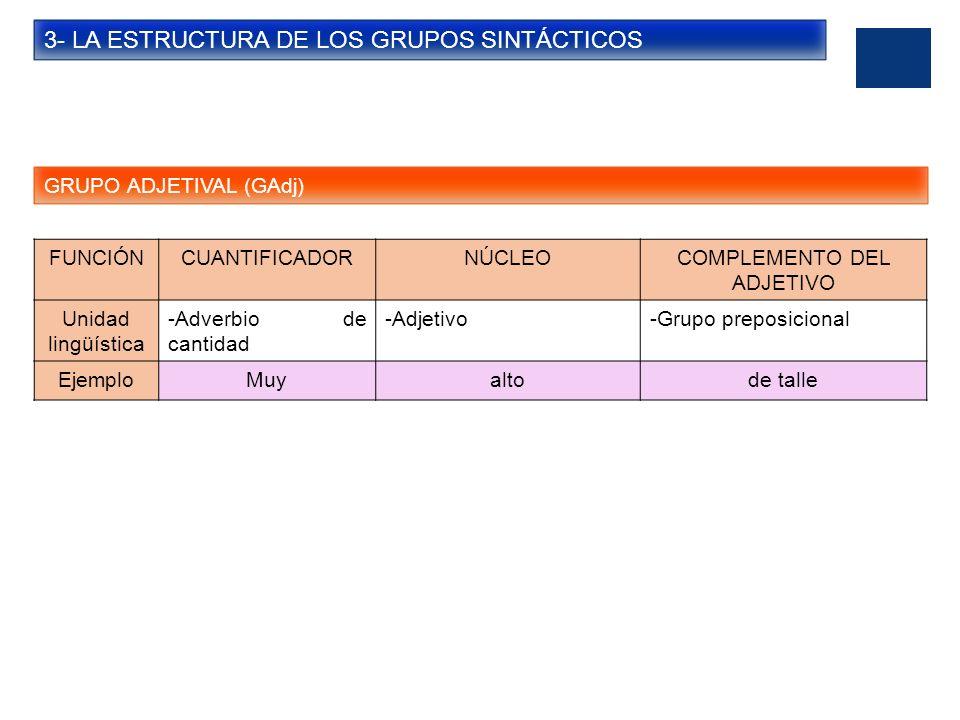 3- LA ESTRUCTURA DE LOS GRUPOS SINTÁCTICOS GRUPO ADVERBIAL (GAdv) FUNCIÓNCUANTIFICADORNÚCLEOCOMPLEMENTO DEL ADVERBIO Unidad lingüística -Adverbio de cantidad -Adverbio-Grupo preposicional EjemploMuycercade tu colegio