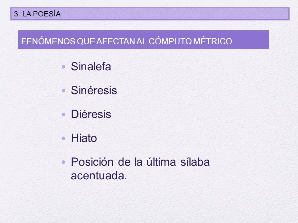 Sinalefa Sinéresis Diéresis Hiato Posición de la última sílaba acentuada. FENÓMENOS QUE AFECTAN AL CÓMPUTO MÉTRICO 3. LA POESÍA