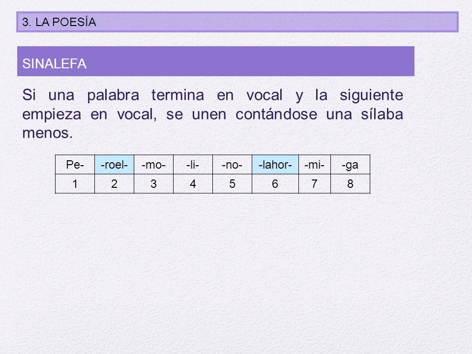 Si una palabra termina en vocal y la siguiente empieza en vocal, se unen contándose una sílaba menos. Pe--roel--mo--li--no--lahor--mi--ga 12345678 SIN