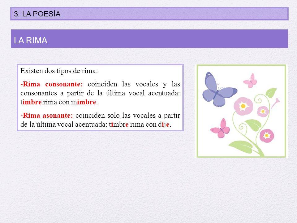 Existen dos tipos de rima: -Rima consonante: coinciden las vocales y las consonantes a partir de la última vocal acentuada: timbre rima con mimbre. -R