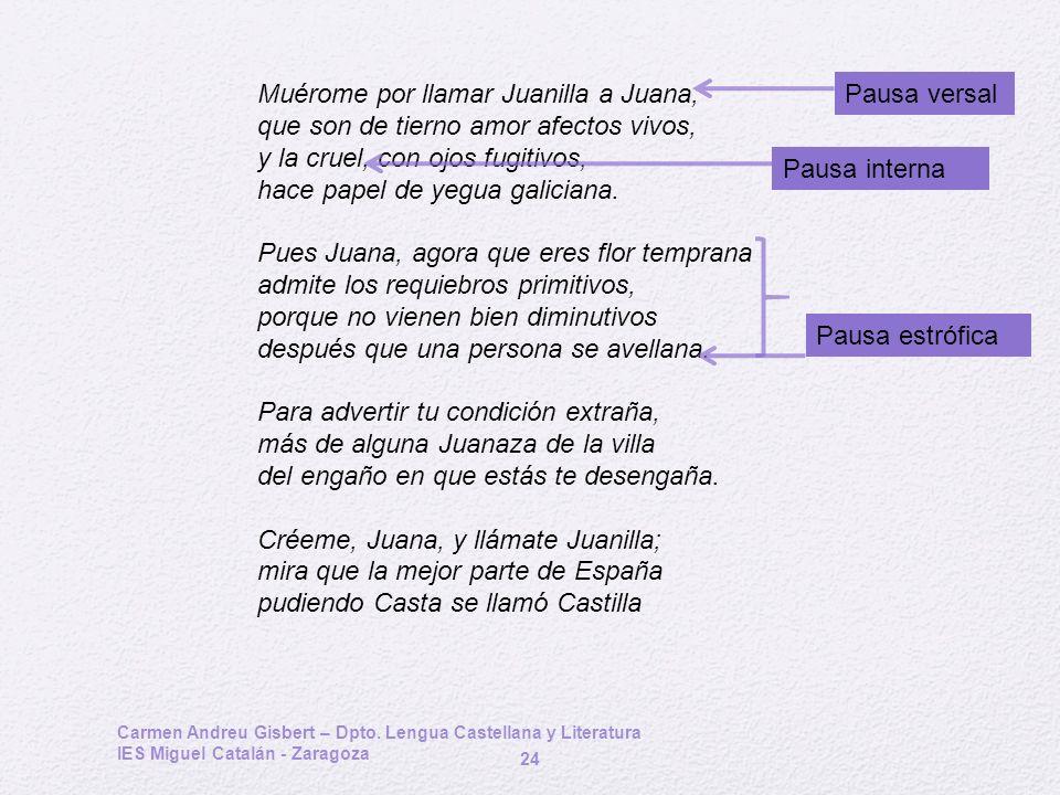 Carmen Andreu Gisbert – Dpto. Lengua Castellana y Literatura IES Miguel Catalán - Zaragoza 24 Muérome por llamar Juanilla a Juana, que son de tierno a