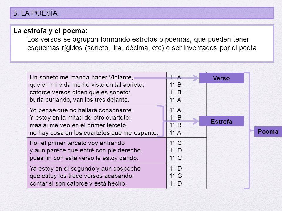 3. LA POESÍA La estrofa y el poema: Los versos se agrupan formando estrofas o poemas, que pueden tener esquemas rígidos (soneto, lira, décima, etc) o