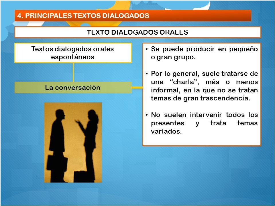 4. PRINCIPALES TEXTOS DIALOGADOS TEXTO DIALOGADOS ORALES Textos dialogados orales espontáneos La conversación Se puede producir en pequeño o gran grup