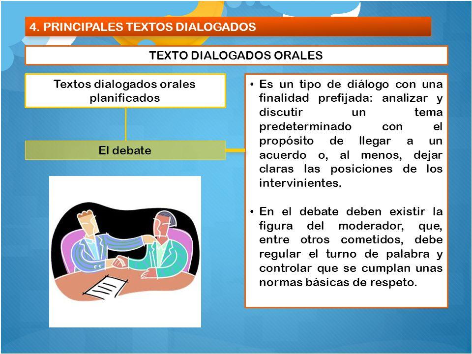 4. PRINCIPALES TEXTOS DIALOGADOS TEXTO DIALOGADOS ORALES Textos dialogados orales planificados El debate Es un tipo de diálogo con una finalidad prefi