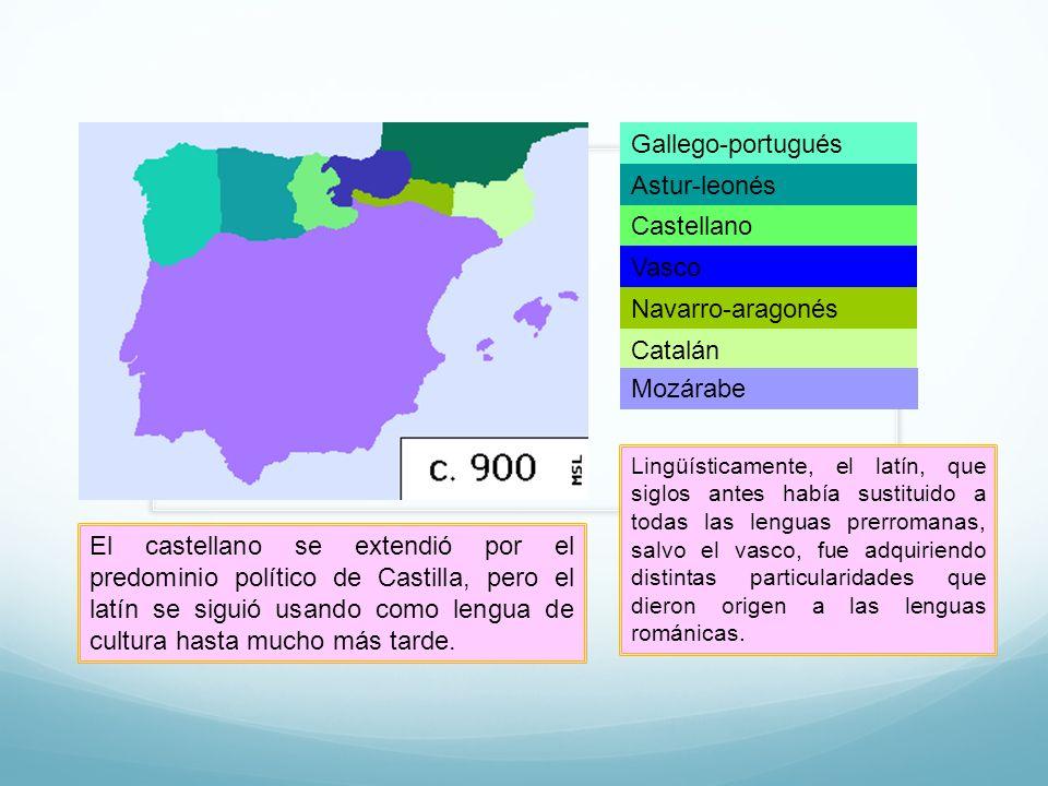 Gallego-portugués Astur-leonés Castellano Vasco Navarro-aragonés Catalán Mozárabe Lingüísticamente, el latín, que siglos antes había sustituido a toda
