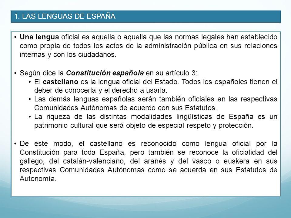 1. LAS LENGUAS DE ESPAÑA Una lengua oficial es aquella o aquella que las normas legales han establecido como propia de todos los actos de la administr