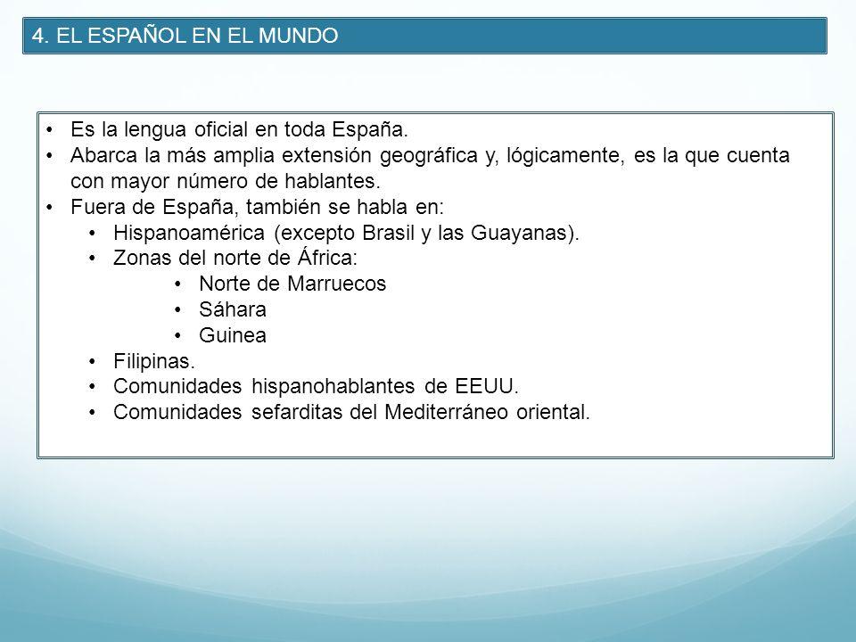 4. EL ESPAÑOL EN EL MUNDO Es la lengua oficial en toda España. Abarca la más amplia extensión geográfica y, lógicamente, es la que cuenta con mayor nú