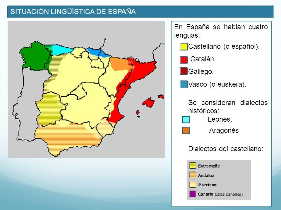SITUACIÓN LINGÜÍSTICA DE ESPAÑA En España se hablan cuatro lenguas: Castellano (o español). Catalán. Gallego. Vasco (o euskera). Se consideran dialect
