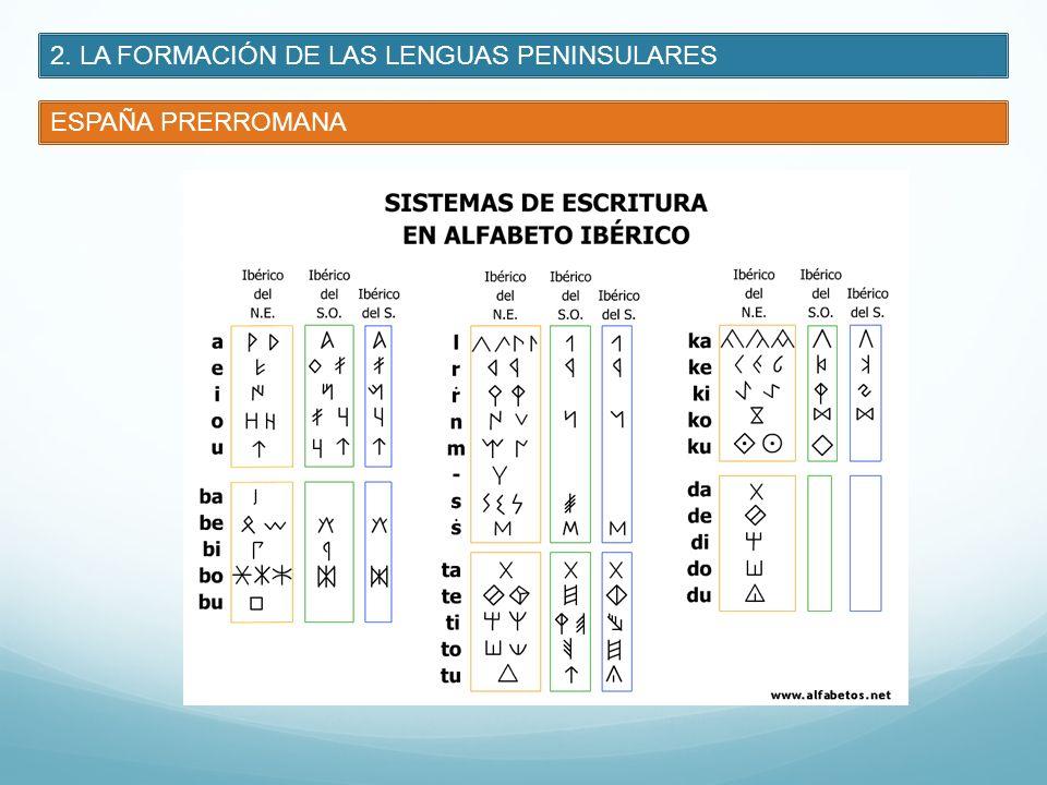 2. LA FORMACIÓN DE LAS LENGUAS PENINSULARES ESPAÑA PRERROMANA