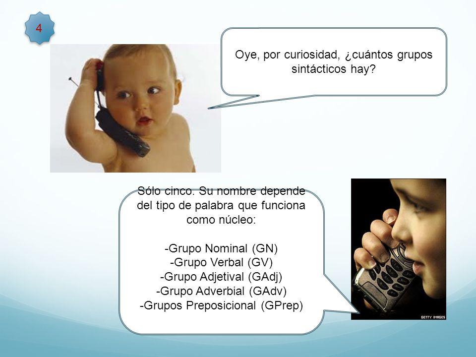 4 Sólo cinco. Su nombre depende del tipo de palabra que funciona como núcleo: -Grupo Nominal (GN) -Grupo Verbal (GV) -Grupo Adjetival (GAdj) -Grupo Ad