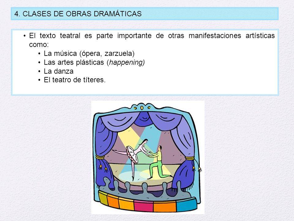 4. CLASES DE OBRAS DRAMÁTICAS El texto teatral es parte importante de otras manifestaciones artísticas como: La música (ópera, zarzuela) Las artes plá