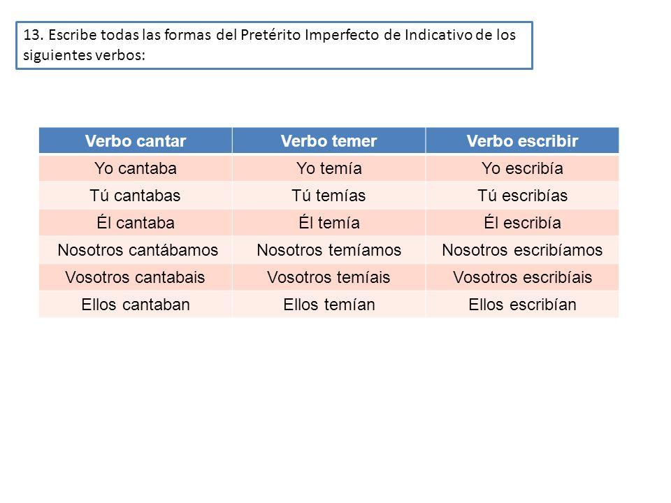 13. Escribe todas las formas del Pretérito Imperfecto de Indicativo de los siguientes verbos: Verbo cantarVerbo temerVerbo escribir Yo cantabaYo temía