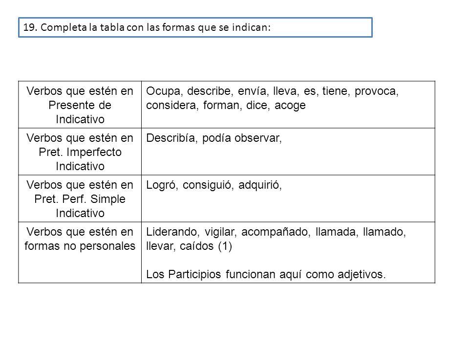 19. Completa la tabla con las formas que se indican: Verbos que estén en Presente de Indicativo Ocupa, describe, envía, lleva, es, tiene, provoca, con
