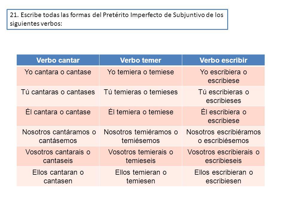 21. Escribe todas las formas del Pretérito Imperfecto de Subjuntivo de los siguientes verbos: Verbo cantarVerbo temerVerbo escribir Yo cantara o canta