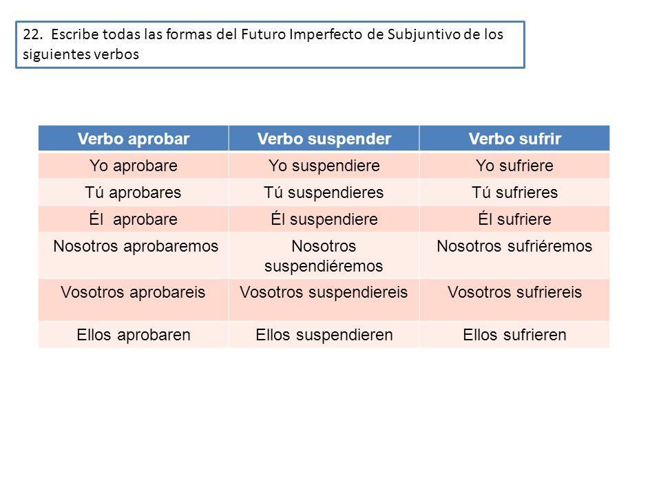 22. Escribe todas las formas del Futuro Imperfecto de Subjuntivo de los siguientes verbos Verbo aprobarVerbo suspenderVerbo sufrir Yo aprobareYo suspe