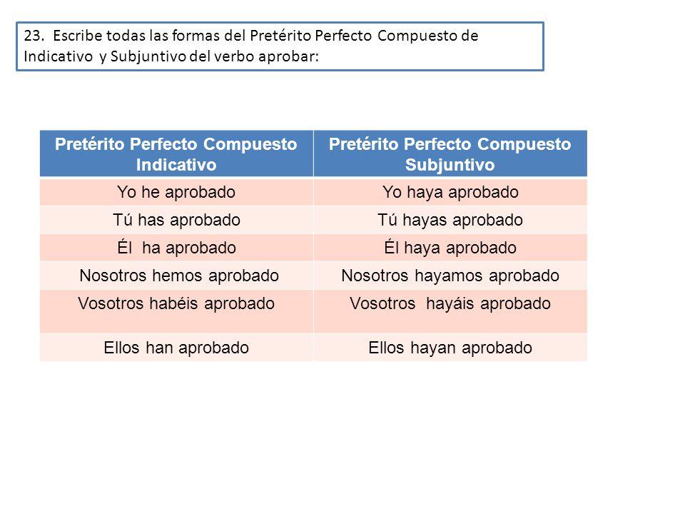 23. Escribe todas las formas del Pretérito Perfecto Compuesto de Indicativo y Subjuntivo del verbo aprobar: Pretérito Perfecto Compuesto Indicativo Pr