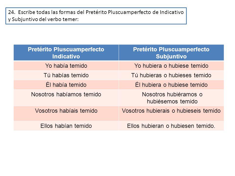 24. Escribe todas las formas del Pretérito Pluscuamperfecto de Indicativo y Subjuntivo del verbo temer: Pretérito Pluscuamperfecto Indicativo Pretérit