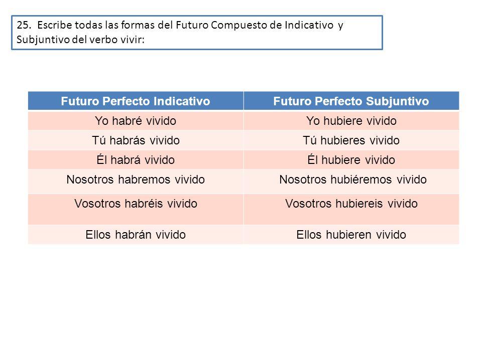 25. Escribe todas las formas del Futuro Compuesto de Indicativo y Subjuntivo del verbo vivir: Futuro Perfecto IndicativoFuturo Perfecto Subjuntivo Yo