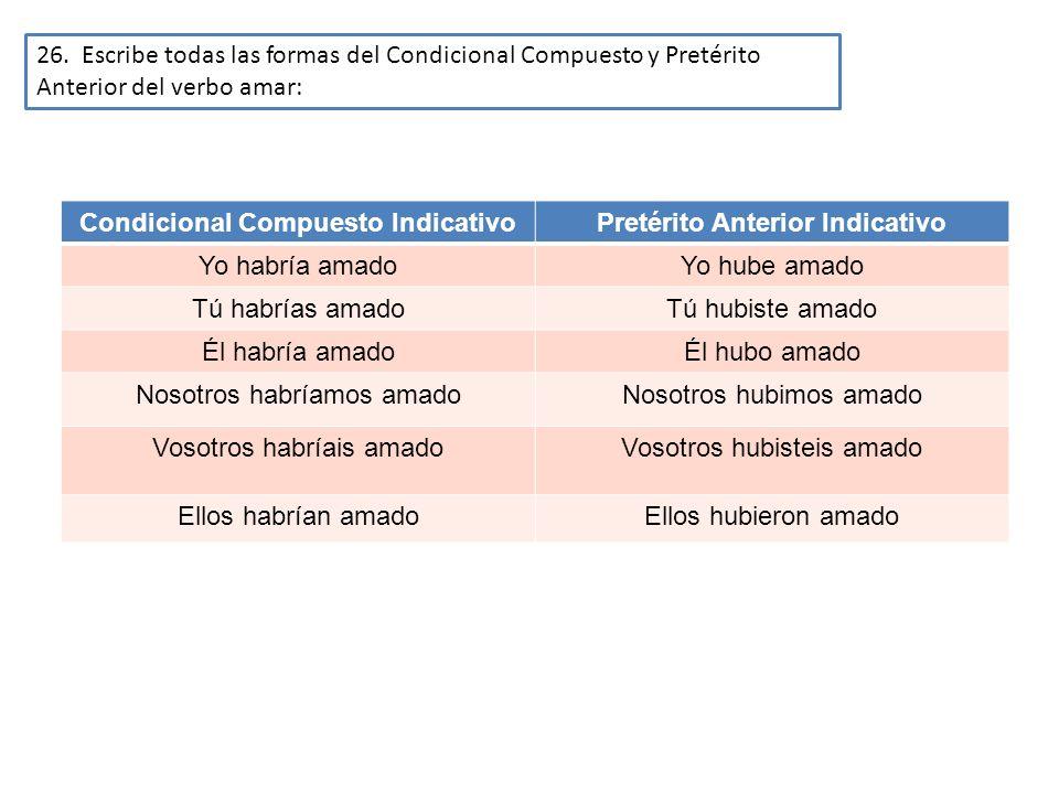 26. Escribe todas las formas del Condicional Compuesto y Pretérito Anterior del verbo amar: Condicional Compuesto IndicativoPretérito Anterior Indicat