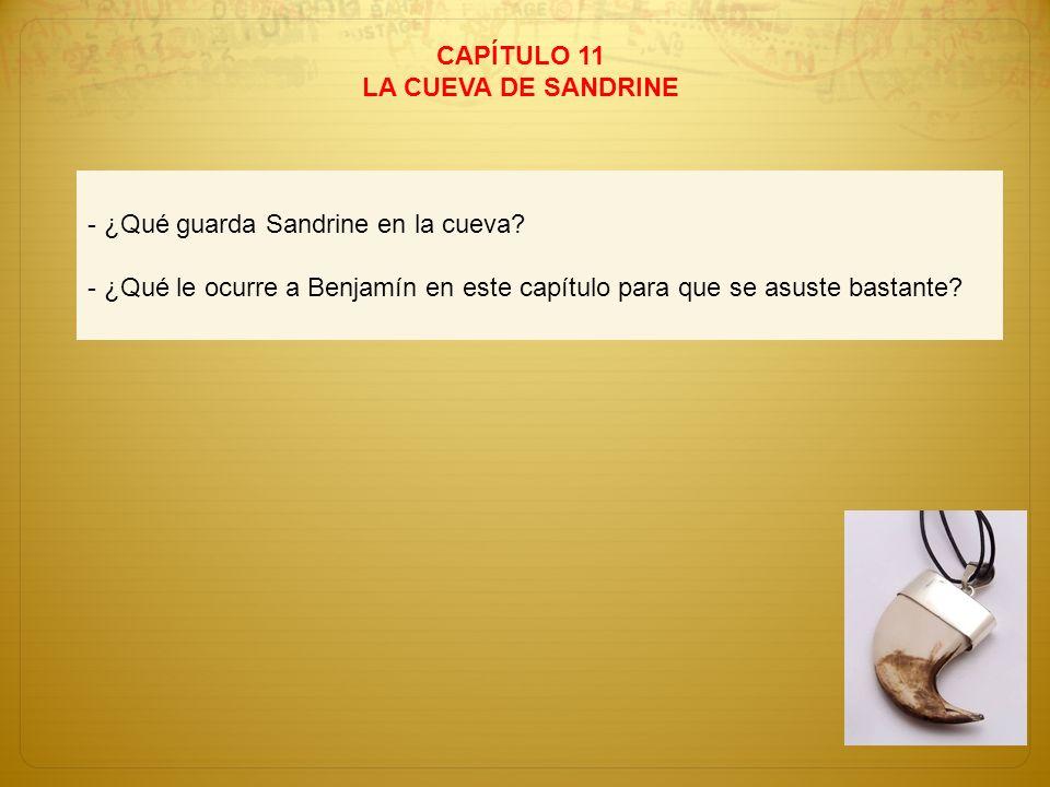 CAPÍTULO 11 LA CUEVA DE SANDRINE - ¿Qué guarda Sandrine en la cueva? - ¿Qué le ocurre a Benjamín en este capítulo para que se asuste bastante?