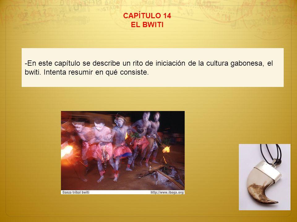 CAPÍTULO 14 EL BWITI -En este capítulo se describe un rito de iniciación de la cultura gabonesa, el bwiti. Intenta resumir en qué consiste.