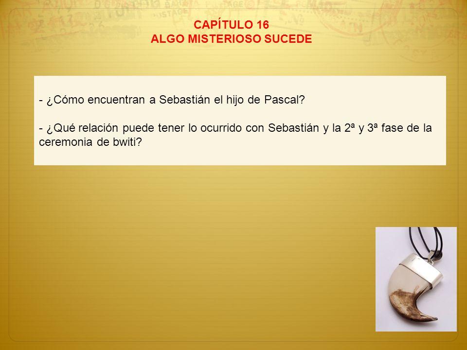 CAPÍTULO 16 ALGO MISTERIOSO SUCEDE - ¿Cómo encuentran a Sebastián el hijo de Pascal? - ¿Qué relación puede tener lo ocurrido con Sebastián y la 2ª y 3