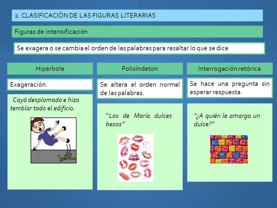 2. CLASIFICACIÓN DE LAS FIGURAS LITERARIAS Figuras de intensificación Se exagera o se cambia el orden de las palabras para resaltar lo que se dice Hip