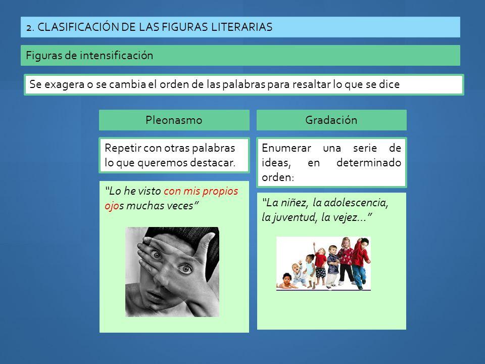 2. CLASIFICACIÓN DE LAS FIGURAS LITERARIAS Figuras de intensificación Se exagera o se cambia el orden de las palabras para resaltar lo que se dice Ple