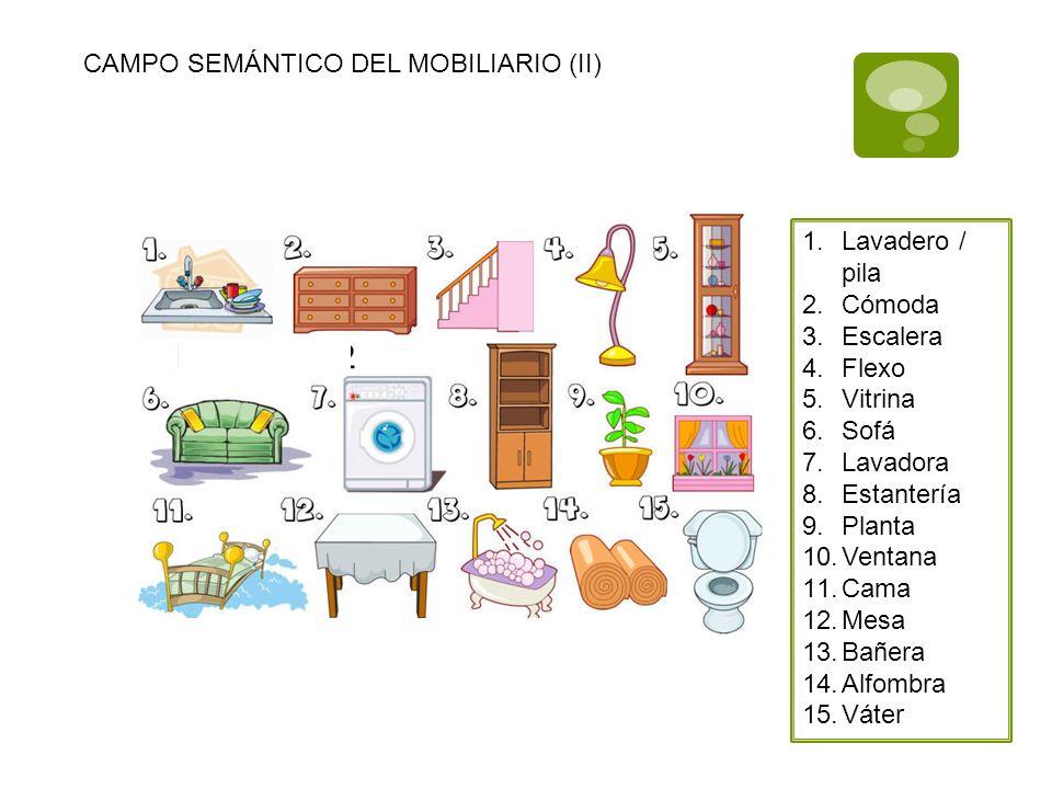 CAMPO SEMÁNTICO DEL MOBILIARIO (II) 1.Lavadero / pila 2.Cómoda 3.Escalera 4.Flexo 5.Vitrina 6.Sofá 7.Lavadora 8.Estantería 9.Planta 10.Ventana 11.Cama