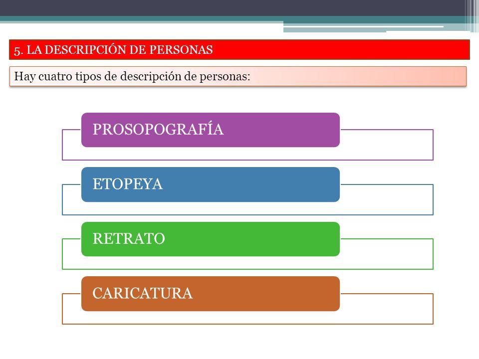 5. LA DESCRIPCIÓN DE PERSONAS Hay cuatro tipos de descripción de personas: PROSOPOGRAFÍAETOPEYARETRATOCARICATURA