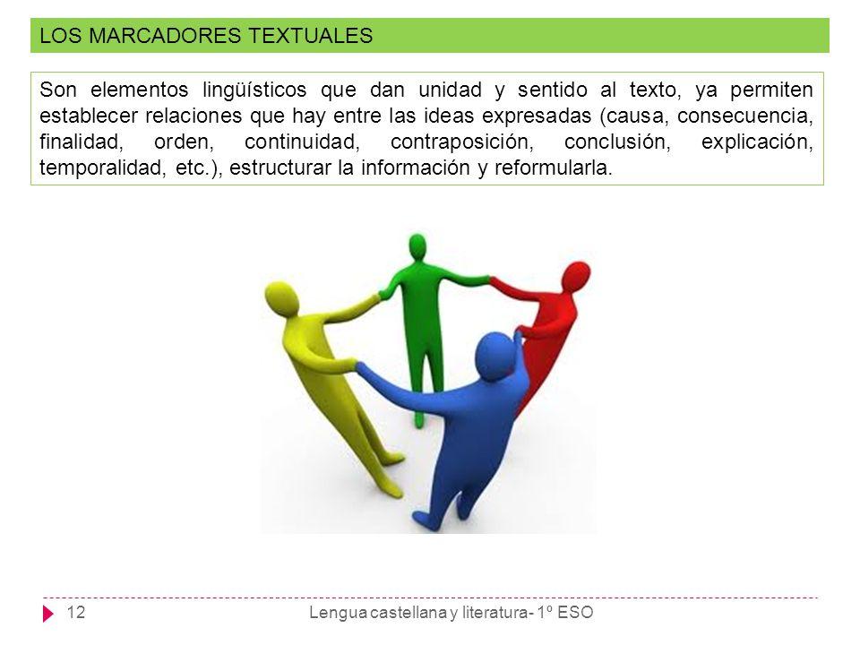 Lengua castellana y literatura- 1º ESO12 LOS MARCADORES TEXTUALES Son elementos lingüísticos que dan unidad y sentido al texto, ya permiten establecer