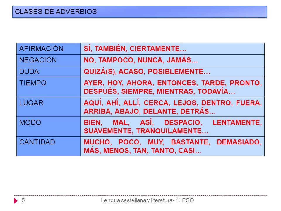 Lengua castellana y literatura- 1º ESO5 CLASES DE ADVERBIOS AFIRMACIÓNSÍ, TAMBIÉN, CIERTAMENTE… NEGACIÓNNO, TAMPOCO, NUNCA, JAMÁS… DUDAQUIZÁ(S), ACASO