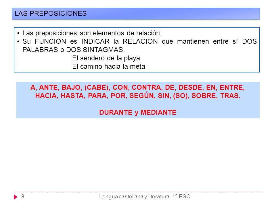Lengua castellana y literatura- 1º ESO8 LAS PREPOSICIONES Las preposiciones son elementos de relación. Su FUNCIÓN es INDICAR la RELACIÓN que mantienen