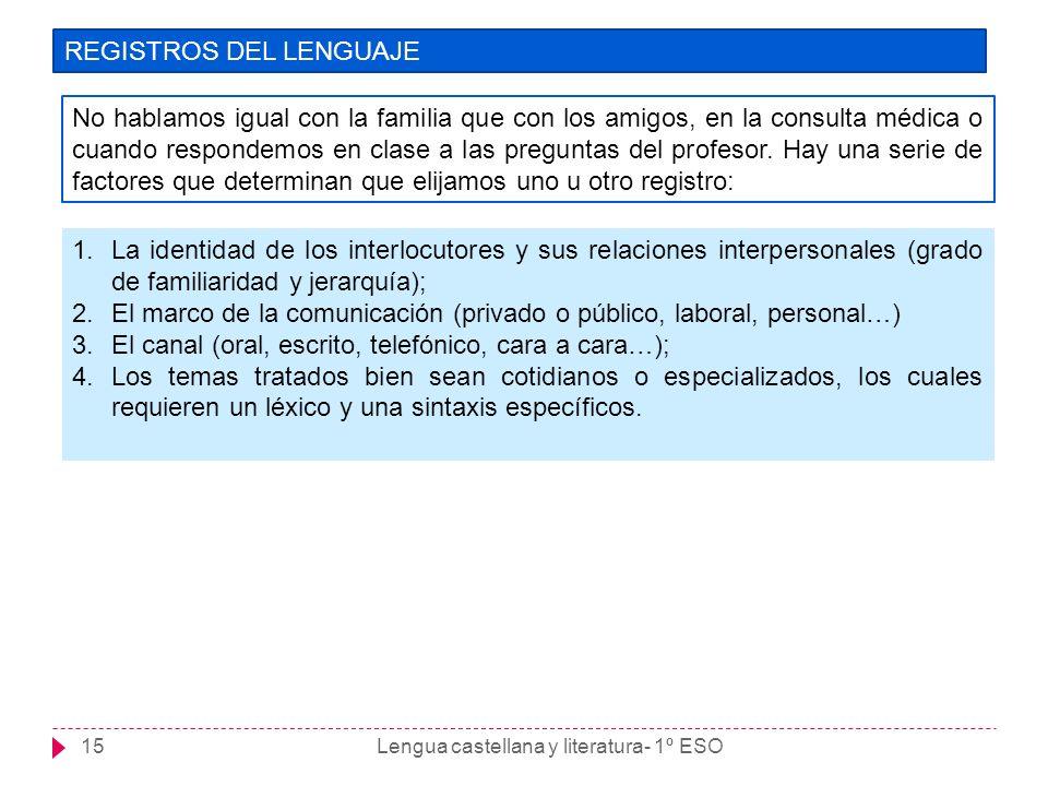 Lengua castellana y literatura- 1º ESO15 REGISTROS DEL LENGUAJE No hablamos igual con la familia que con los amigos, en la consulta médica o cuando re