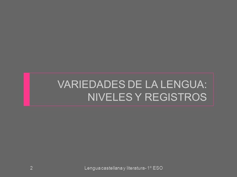 VARIEDADES DE LA LENGUA: NIVELES Y REGISTROS Lengua castellana y literatura- 1º ESO2