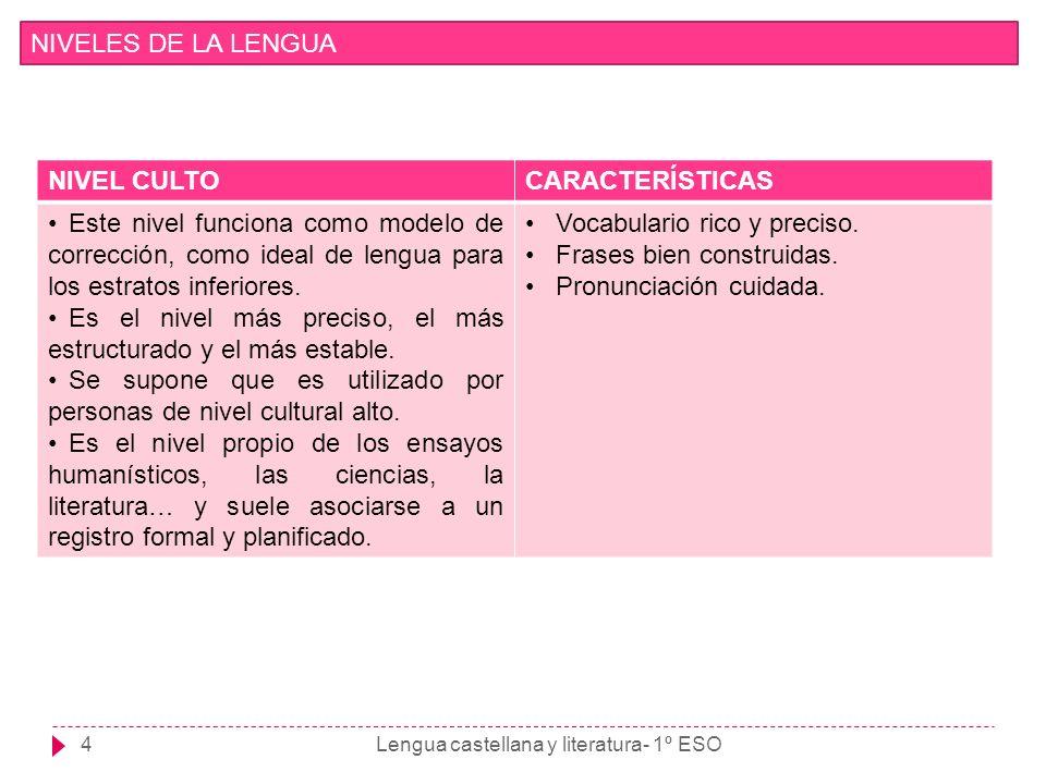 Lengua castellana y literatura- 1º ESO4 NIVELES DE LA LENGUA NIVEL CULTOCARACTERÍSTICAS Este nivel funciona como modelo de corrección, como ideal de l
