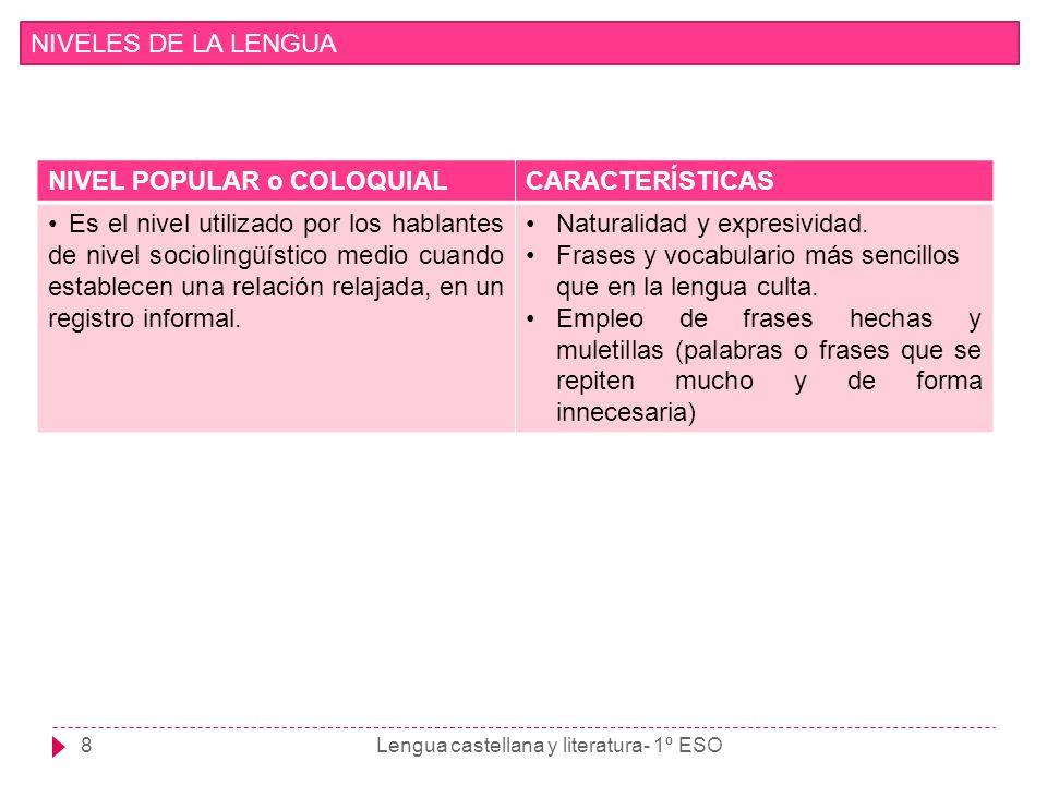 8 NIVELES DE LA LENGUA NIVEL POPULAR o COLOQUIALCARACTERÍSTICAS Es el nivel utilizado por los hablantes de nivel sociolingüístico medio cuando estable