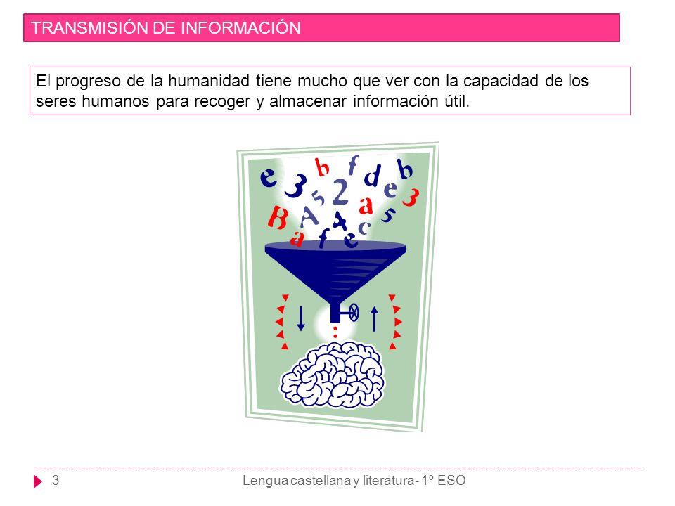 Lengua castellana y literatura- 1º ESO4 TRANSMISIÓN DE INFORMACIÓN A lo largo de la historia ha habido tres momentos esenciales en este proceso de recogida y transmisión de información: ORALIDAD ESCRITURA SOCIEDAD DE LA INFORMACIÓN