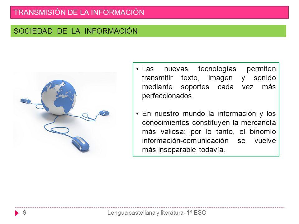9 TRANSMISIÓN DE LA INFORMACIÓN SOCIEDAD DE LA INFORMACIÓN Las nuevas tecnologías permiten transmitir texto, imagen y sonido mediante soportes cada ve