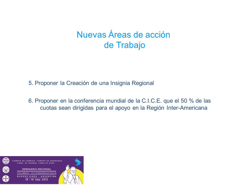 Nuevas Áreas de acción de Trabajo 5. Proponer la Creación de una Insignia Regional 6. Proponer en la conferencia mundial de la C.I.C.E. que el 50 % de