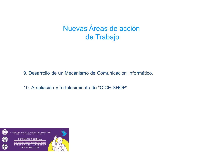 Nuevas Áreas de acción de Trabajo 9. Desarrollo de un Mecanismo de Comunicación Informático. 10. Ampliación y fortalecimiento de CICE-SHOP
