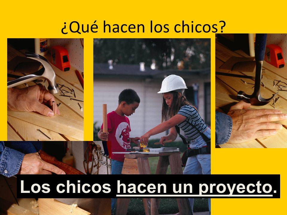 ¿Qué hacen los chicos? Los chicos hacen un proyecto.
