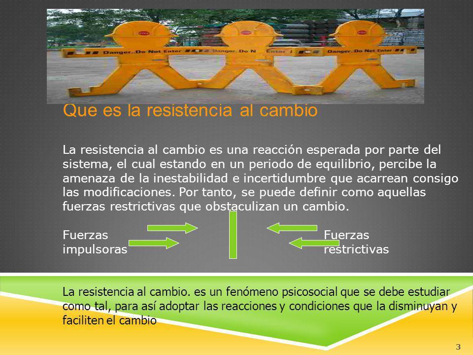 3 Que es la resistencia al cambio La resistencia al cambio es una reacción esperada por parte del sistema, el cual estando en un periodo de equilibrio