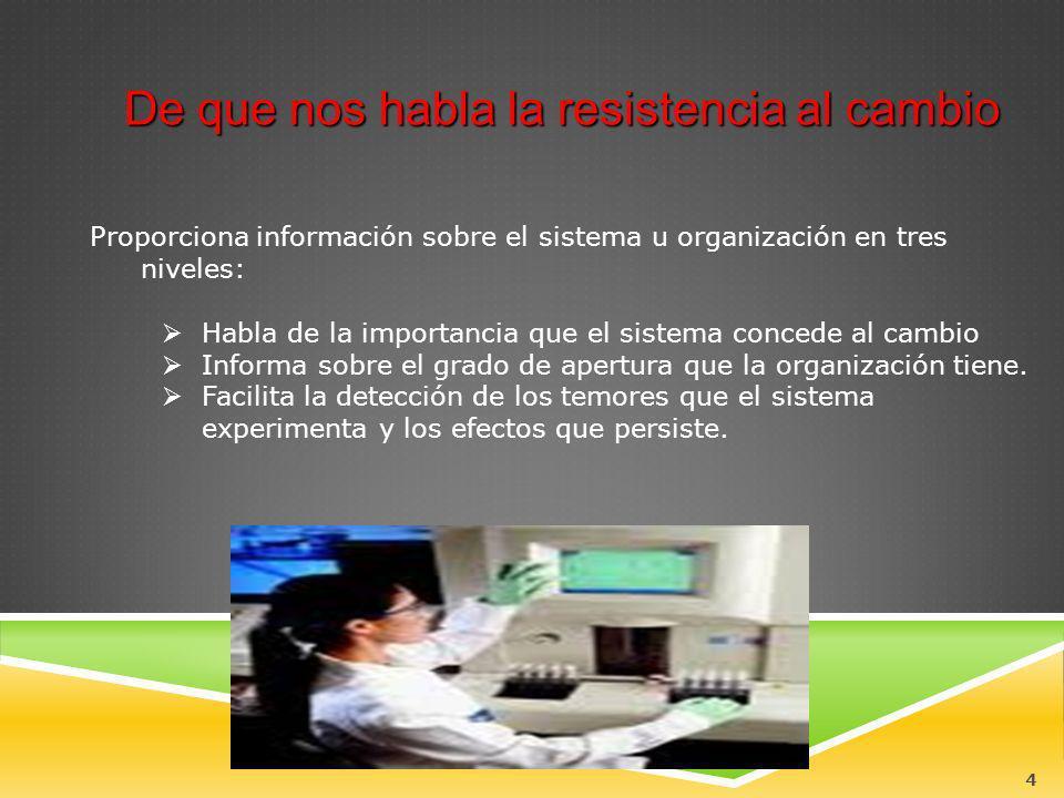 4 Proporciona información sobre el sistema u organización en tres niveles: Habla de la importancia que el sistema concede al cambio Informa sobre el g