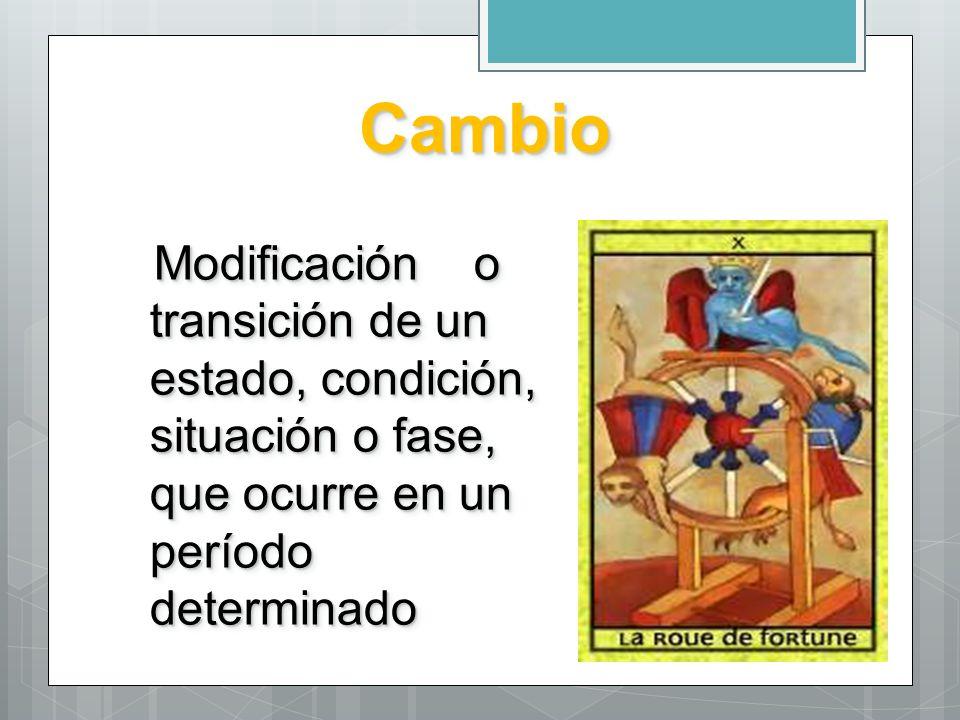 CambioCambio Modificación o transición de un estado, condición, situación o fase, que ocurre en un período determinado Modificación o transición de un
