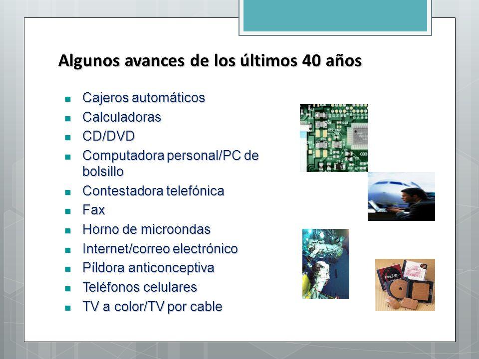 Algunos avances de los últimos 40 años Cajeros automáticos Cajeros automáticos Calculadoras Calculadoras CD/DVD CD/DVD Computadora personal/PC de bols